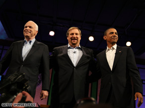 Sens. McCain and Obama appeared briefly on stage together last month during a forum moderated by Pastor Rick Warren at the Saddleback Church in California.