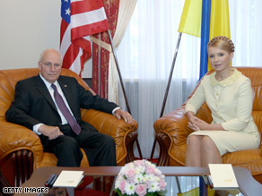 Vice President Cheney met with the Prime Minister of Ukraine Yulia Tymoshen on Friday.