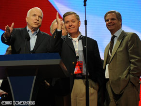 Sen. Graham, center, has been one of Sen. McCain&#039;s most ardent supporters and outspoken surrogates throughout the election season.