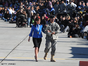 Palin made an appearance at an Army base for her son Tracks deployment.
