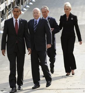 Presidential candidates Sen. Barack Obama and Sen. John McCain are followed by New York Mayor Michael Bloomberg and Cindy McCain as they descend the ramp into ground zero