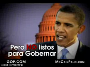 New McCain ad blames Obama and Democrats for death of immigration overhaul effort.