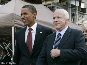 Sen. Obama trails Sen. McCain by one points in Saturday's CNN poll of polls.