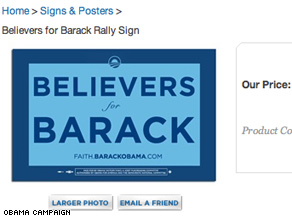 New Obama merchandise is aimed at religious voters.
