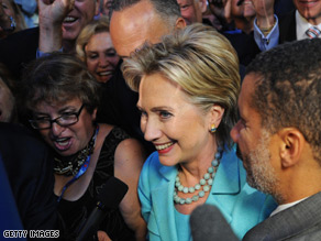 Sen. Hillary Clinton spoke during the Roll Call at the Democratic National Convention.