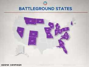 The Obama campaign has targeted 17 battleground states.