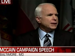 McCain delivered a speech in Baltimore.