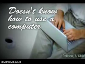 An Obama ad mocking McCain's computer skills barely ran.