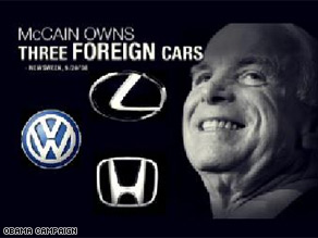 The Obama campaign released a new ad Tuesday taking aim at McCain's foreign cars.