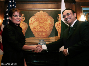 Pakistan president Asif Ali Zardari told Palin she&#039;s gorgeous.