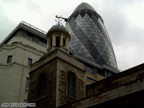 Churches and financial institutions rub shoulders in the City of London.