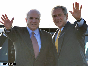 Does McCain almost always agree with Pres. Bush?.