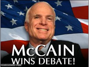 The McCain campaign released a web ad Friday claiming McCain won the debate.