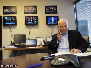 Sen. John McCain spent part of the day making phone calls to make sure negotiations go well on the bailout plan.