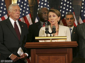 Members of the House Democratic Leadership meet with the media on Capitol Hill in Washington.