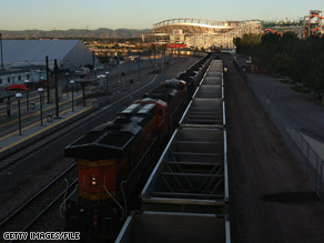 A freight train carries coal in Colorado, the site of the recent Democratic convention and a state that is also the focus of a recent radio ad by the McCain-Palin campaign.