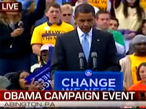 Obama campaigned in Pennsylvania earlier Friday.