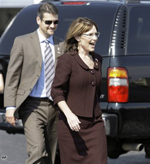 Republican vice presidential candidate Sarah Palin before boarding her campaign plane in Dallas. 