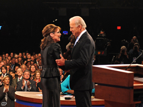Gov. Sarah Palin and Sen. Joe Biden greet each other before the start of their vice presidential debate Thursday.