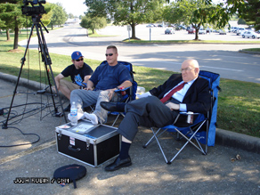 Chris Nowak, Jordan Place, and Bill Schneider enjoy the shade in Cape Girardeau, MO‎