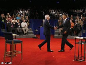 Senators Obama and McCain shake hands before the debate at Belmont University in Nashville, TN.