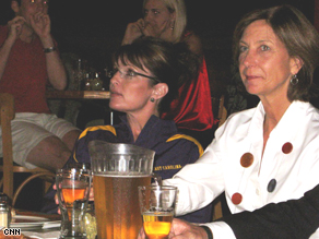 Palin watching the debate at Bolis on the Boulevard restaurant in Greenville, North Carolina.
