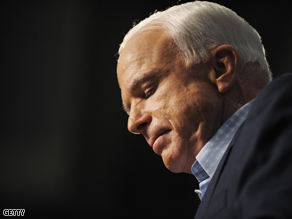 John McCain during a rally on Monday at the University of New Mexico.
