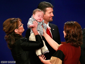 Sarah, Trig, Todd, and Willow Palin after the V.P. debate last week.