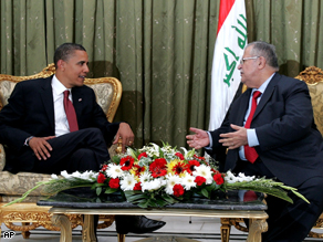 Presidential candidate Barack Obama talks to the Iraqi President Jalal Talabani in Baghdad, Iraq, July 2008.