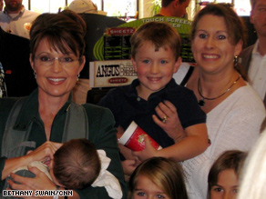 Gov. Sarah Palin greeted Pennsylvania voters at a Sheetz store in Altoona, cradling her son Trig in a baby carrier.