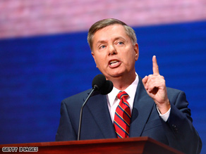 Sen. Lindsey Graham spoke at the South Carolina Republican convention on Saturday.