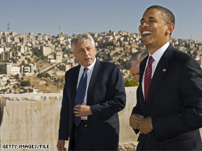 The Obama announced that Sen. Hagel&#039;s wife, Lilibet, will join Michelle Obama at the final presidential debate. The two men are pictured in this file photo during Obama&#039;s summer Mid East trip.