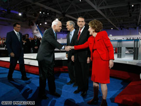 Sen. McCain greets Mrs. Reagan before a Republican primary debate in this file photo from the beginning of the year.