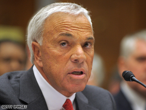 Angelo Mozilo testifying at the government hearing on 'CEO Pay and the Mortgage Crisis' on March 7, 2008.