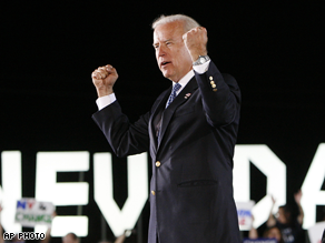 Biden campaigned in Nevada Saturday.