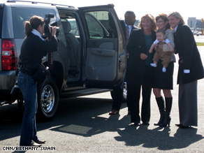 Palin poses with supporters after arriving in New York for her much-anticipated appearance on SNL Saturday night.