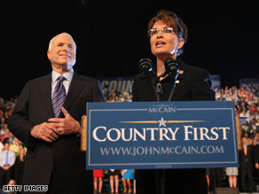 Palin and McCain disagree on a federal gay marriage ban.