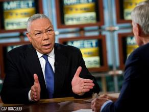 Colin Powell introduced Sen. Barack Obama on Sunday on NBC's 'Meet the Press.'