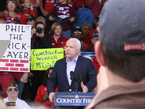 John McCain at a campaign rally in Woodbridge, VA