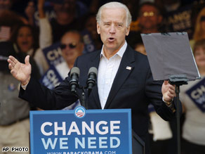 Biden claims that the Republican ticket's economic policies are 'upside down.'