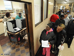 Early voters wait in long lines in Gary, Indiana.