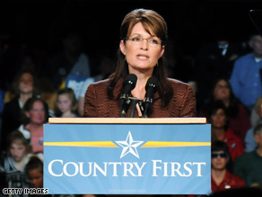 Palin was introduced by 'Tito the builder' at a rally in Virginia this morning.