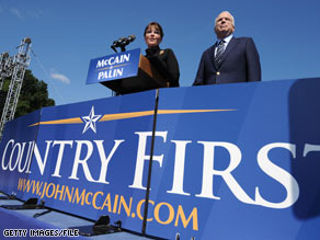 Sen. McCain and Gov. Palin campaigned in Fairfax County, Virginia last month. Their campaign has tried to bring attention to a legal snag that could have caused some overseas absentee ballots from Virginia voters to be rejected.
