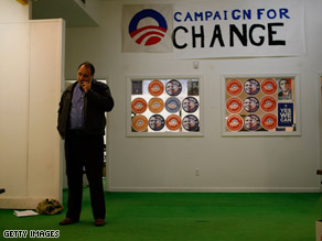 Obama aide David Axelrod, pictured here at a Pennsylvania campaign office earlier this week, called the release of information about Sen. Obama&#039;s aunt &#039;suspicious.&#039;