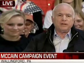McCain is campaigning in Pennsylvania Sunday.