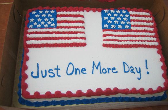 A cake awaiting weary reporters and staff at Joe Biden's Zanesville, Ohio rally, his second of four on Monday.(CNN/Alexander Marquardt)