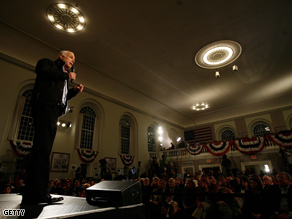 John McCain holds a town hall meeting in Peterborough, New Hampshire on Sunday.