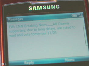 Fake text messages were sent out on Election Day.