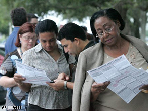 Miami voters line up at the polls on election day.