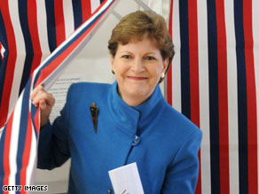 Jeanne Shaheen votes in her hometown of Madbury, HN on Election Day.